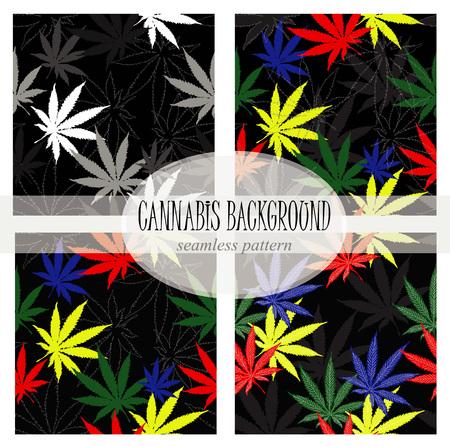 Set of seamless pattern with leaves of hemp, marijuana, hashish. Marijuana leaf. Cannabis plant Illustration