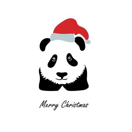 christmas greeting card: Panda in the Santa Claus hat. Panda logo. Christmas Illustration