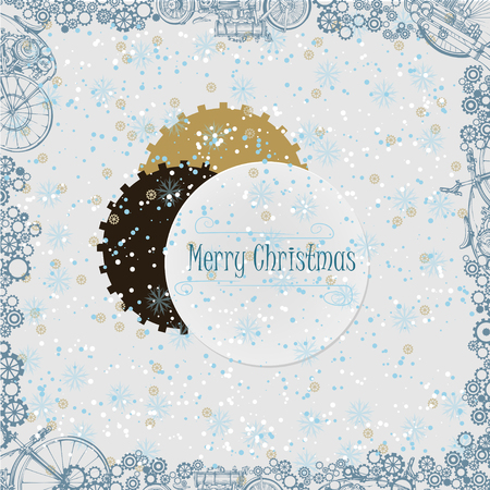 christmas greeting card: New Year background in steampunk style Illustration
