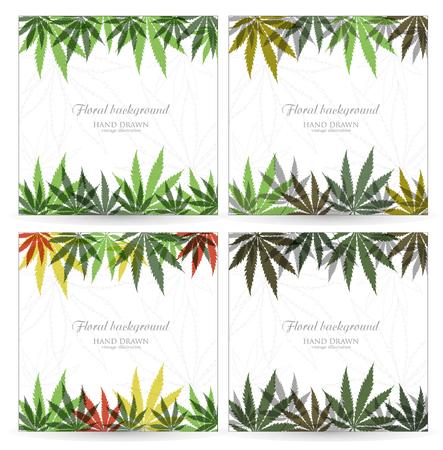 Set Cannabis plant background. Marijuana leaves.