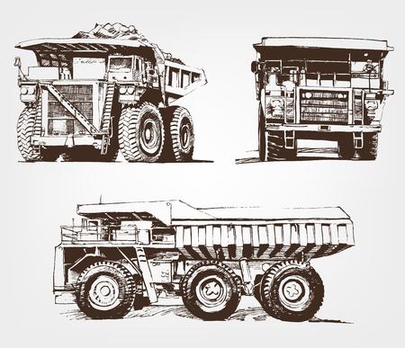 Set of big car. Large Industrial Mining Dump Truck. Sketch giant machine Ilustração