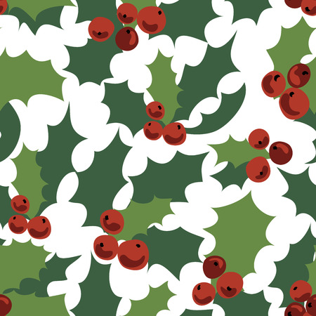 Seamless pattern of holly branches.