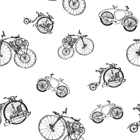 Seamless pattern with a bicycle.