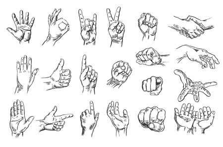 Different hand gestures, signs. Illustration