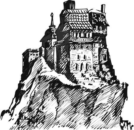 Châteaux médiévaux isolés sur fond blanc. tableau graphique Banque d'images - 93389445