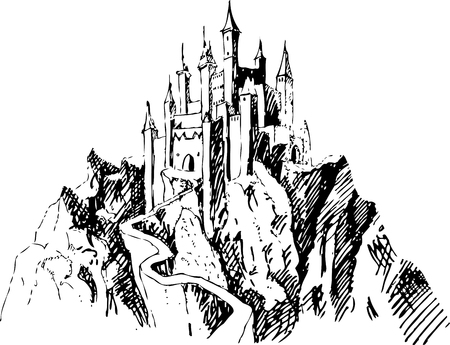 Medieval castles Isolated on white background. Graphic drawing.