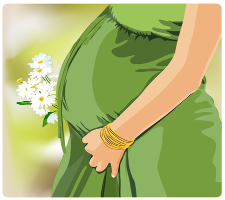 Pregnant woman illustration for Mothers Day. Illustration