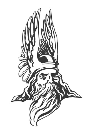 The head of Odin, the supreme god of German mythology Illustration