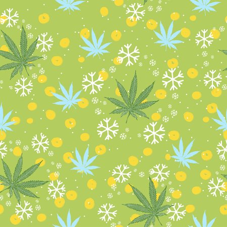 Seamless pattern with trees, snowflakes and cannabis leaves