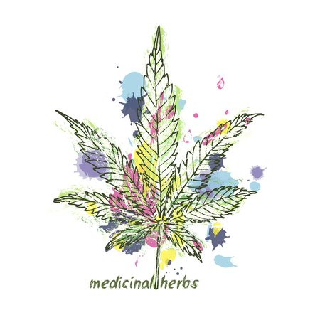 Grunge art illustration with a leaf of marijuana. Cannabis plant Stock Vector - 122213247