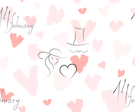 Hand drawn vector abstract greeting happy Valentines day illustrations invitation seamless pattern with hearts and handwritten calligraphy 14 february isolated on white background.