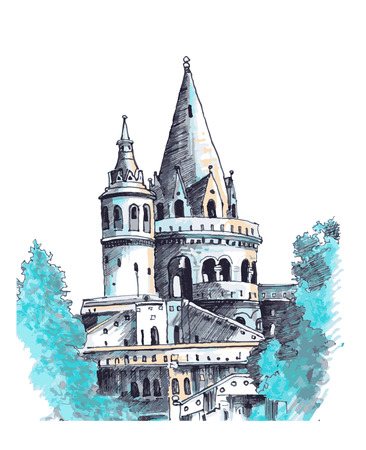 Medieval castle among the trees. Watercolor illustration.