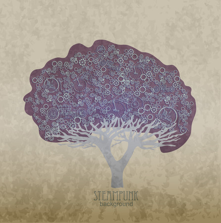 Steampunk style. Template steampunk design for card. Frame steampunk background. The stylized tree.  イラスト・ベクター素材