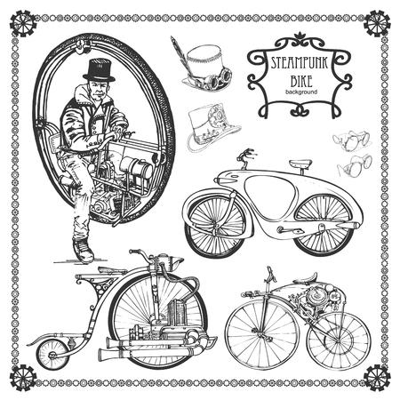 Juego de bicicleta de vapor vintage. Estilo steampunk con bicicletas Ilustración de vector