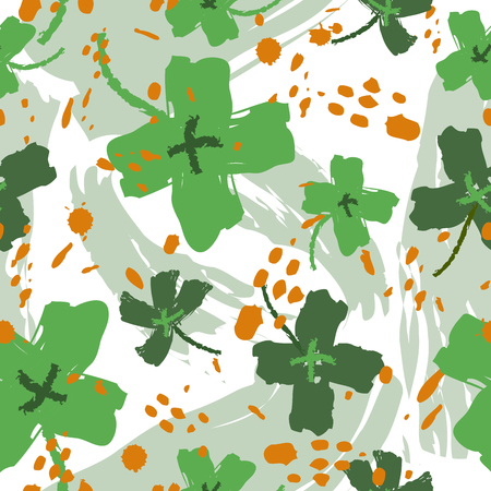 Seamless vintage pattern for St. Patrick's day with four-leaf clovers. St. Patrick's Day poster. Clover pattern