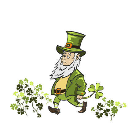 Leprechaun cartoon waving hand. Vector Illustration of a Cartoon Leprechaun Wearing a Green Suit Ilustracja