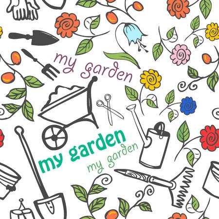 Seamless pattern - my garden. Background of garden tools