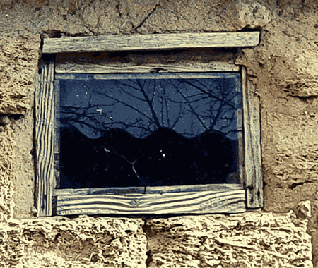 Texture from old coquina limestone with window. Rustic window of an old barn, rural motif. Vector illustration 矢量图像