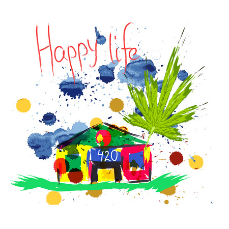 Colorful house or hemp farm with large strokes. Cartoon background for design. Vector illustration Illustration