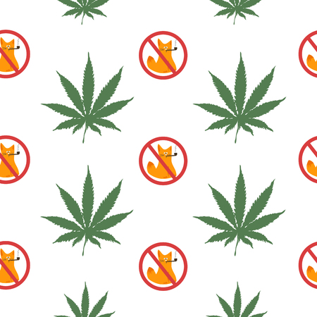 Seamless pattern with a leaf of hemp and a forbidden sign - smoking is prohibited. The cat smokes cannabis. Vector illustration