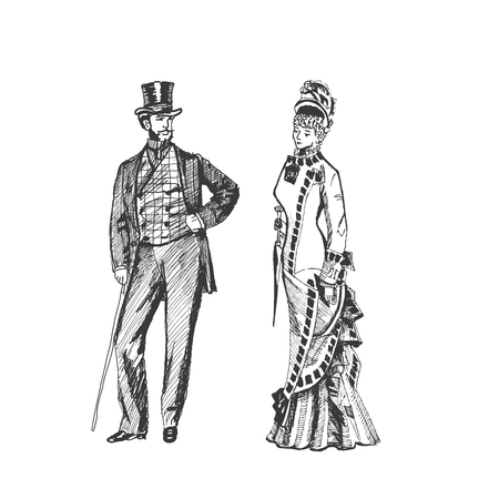 Man and woman in historical costumes, steampunk design for card. Hand drawing - Vector illustration Illustration