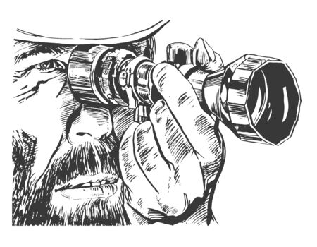 Close-up man hunter looking through binoculars. Graphics. - Vector illustration Illusztráció