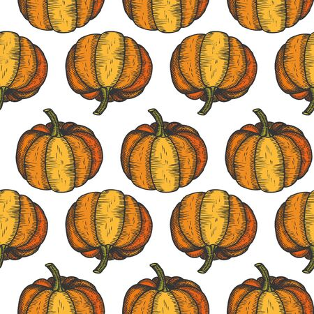 Pumpin seamless pattern, abstract repeated background. Vegetable design for paper, cover, fabric, gift wrap, wall art, interior decor. Simple artistic drawing Halloween - Vector illustration