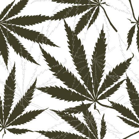 Seamless pattern with leaves of hemp, marijuana, hashish. Marijuana leaf. Cannabis plant Illustration