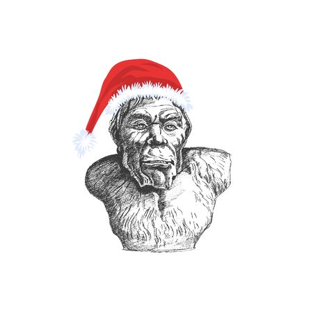 Snowman or Yeti in Santa Claus hat. The evil father Christmas - Vector illustration