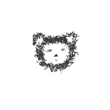 Grunge animal face. Blot painted animal head ink splatter texture and stencils border. Isolated illustration - Vector illustration Ilustracja