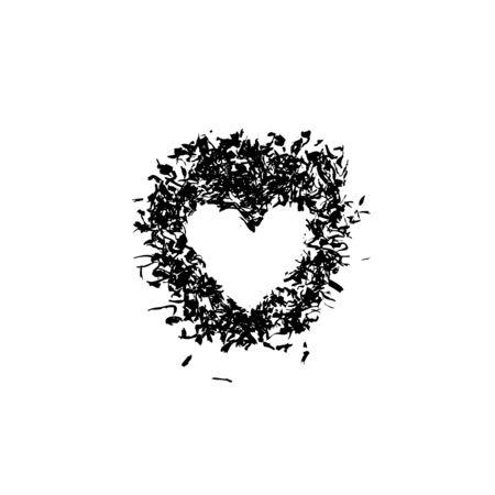 Grunge stencil frame heart. Blot painted frame heart, ink splatter texture and stencils border. Isolated illustration - Vector illustration Zdjęcie Seryjne - 132546829