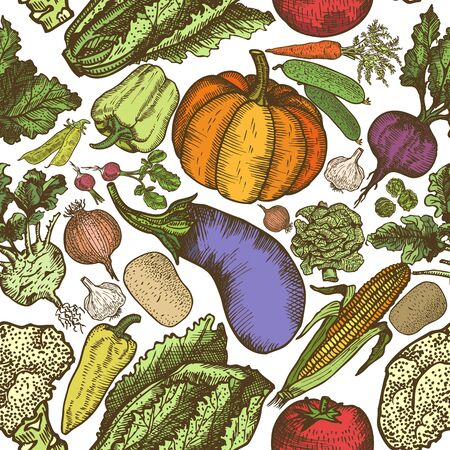 Seamless pattern of natural vegetables. Vector hand drawing.