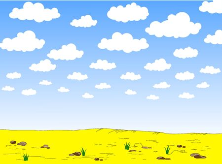 Summer background vector illustration. Cartoon summer beach, sky, clouds and sand. Summer landscape for background and wallpaper - Vector illustration Ilustracja