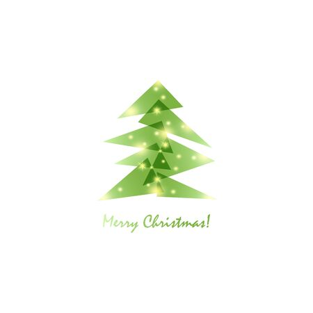 Geometric Christmas tree gradient vector design for background. Minimalist design Merry Christmas postcard. Vector illustration Ilustracja