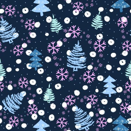 Seamless pattern with Christmas trees and snow - Vector illustration Ilustracja