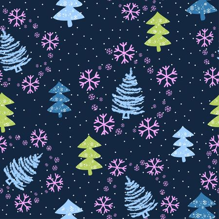 Seamless pattern with Christmas trees and snow - Vector illustration Zdjęcie Seryjne - 135380244
