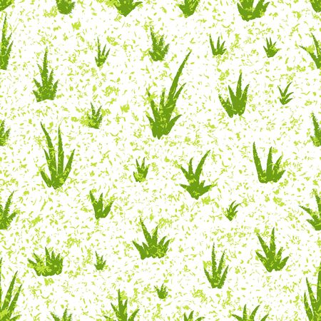 Seamless pattern with grunge grass pattern. Hand drawing grass and noise, template for greeting card or packaging decoration holiday - Vector illustration Ilustracja