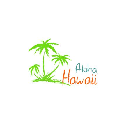 Aloha Hawaii quote t-shirt print and hand-drawing illustration. Palm related trendy t-shirt apparel design - Vector illustration