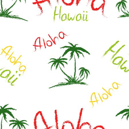 Aloha Hawaii quote t-shirt print and hand-drawing illustration. Seamless pattern with palm trees related trendy t-shirt apparel design - Vector illustration Ilustracja