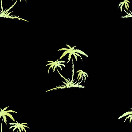 Hand drawn seamless pattern. Simple seamless palm tree pattern. Perfect for fabric, wallpaper or giftwrap -Vector illustration Zdjęcie Seryjne - 135379989