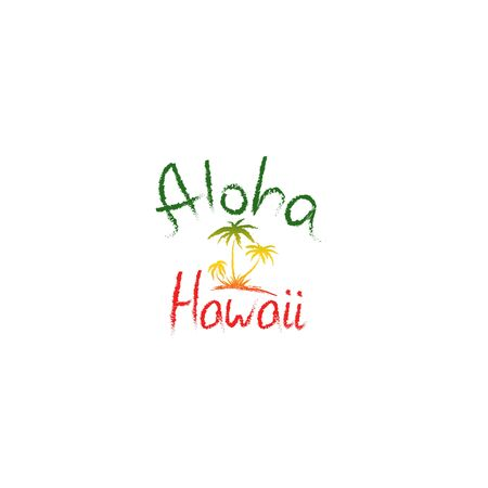 Aloha Hawaii quote t-shirt print and hand-drawing illustration. Palm related trendy t-shirt apparel design - Vector illustration Zdjęcie Seryjne - 135379995