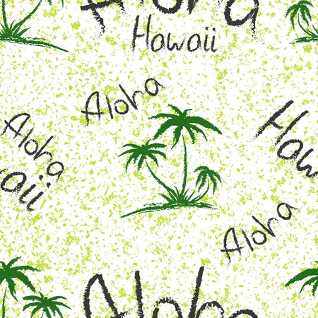 Aloha Hawaii quote t-shirt print and hand-drawing illustration. Seamless pattern with palm trees related trendy t-shirt apparel design - Vector illustration Zdjęcie Seryjne - 135380002