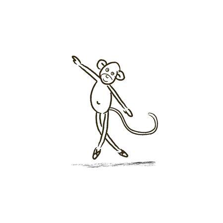 Dancing monkey freehand drawing. Sketch doodle monkey ballerina. Animal related trendy t-shirt apparel design - Vector illustration Ilustracja