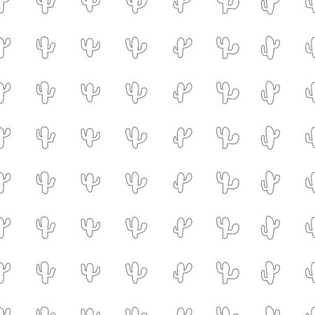 Hand drawn seamless pattern with outline cactus plant. Simple seamless cactus pattern. Perfect for fabric, wallpaper or gift wrap - Vector illustration Ilustracja