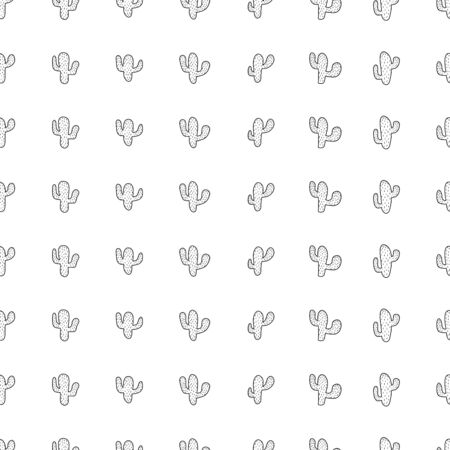 Hand drawn seamless pattern with cactus plant. Simple seamless cactus pattern. Perfect for fabric, wallpaper or gift wrap - Vector illustration