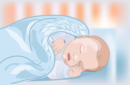 A realistic sleeping baby in the crib. Medical poster or card for Mothers day. Vector
