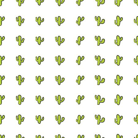 Hand drawn seamless pattern with cactus plant. Simple seamless cactus brush pattern. Perfect for fabric, wallpaper or gift wrap - Vector illustration
