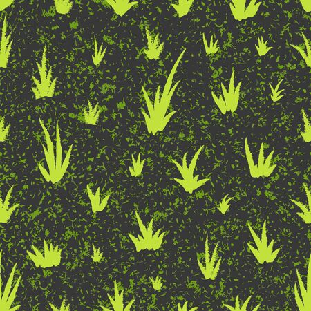 Seamless pattern with grunge grass pattern. Hand drawing grass and noise, template for greeting card or packaging decoration holiday - Vector illustration Zdjęcie Seryjne