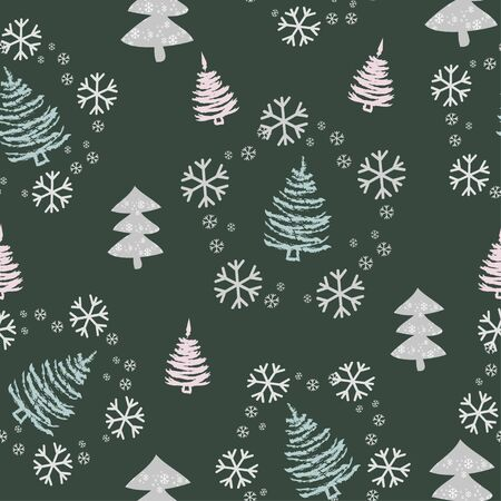 Seamless pattern with Christmas trees, snowflakes and snow Ilustracja