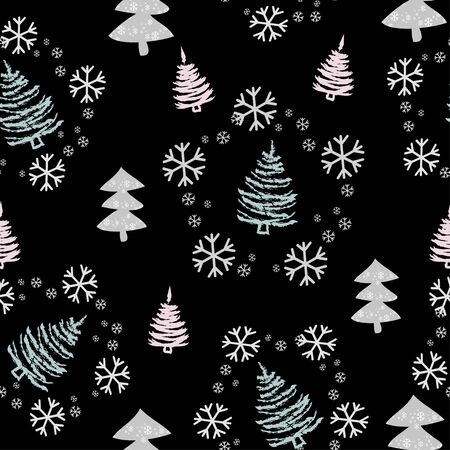 Seamless pattern with Christmas trees, snowflakes and snow - Vector illustration